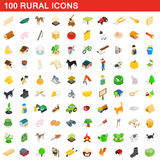 100 icone rurali messe, stile isometrico 3d Immagine Stock
