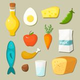Icone sane di vettore dell'alimento messe Immagini Stock