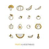 Icone sane fresche della verdura e della frutta fatte nella linea d'avanguardia vettore di stile Fotografia Stock Libera da Diritti