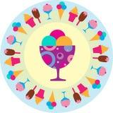 Icone saporite variopinte dei gelati Fotografia Stock