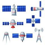 Icone satelliti, illustrazione di vettore Fotografia Stock