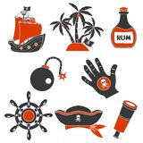 Icone semplici dei pirati messe Fotografia Stock Libera da Diritti