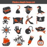 Icone semplici dei pirati messe Fotografia Stock