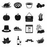Icone semplici del nero di giorno di ringraziamento Fotografia Stock Libera da Diritti