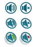 Icone semplici dell'altoparlante di vettore Fotografie Stock Libere da Diritti