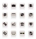 Icone semplici dell'ufficio e di affari Fotografia Stock