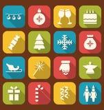 Icone semplici della festa di Natale Immagini Stock Libere da Diritti