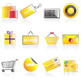 Icone semplici di acquisto Immagini Stock Libere da Diritti