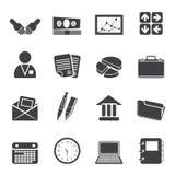 Icone semplici di affari e dell'ufficio della siluetta Fotografia Stock