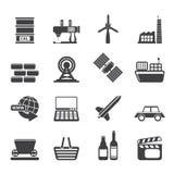 Icone semplici di affari e di industria della siluetta Fotografia Stock