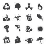 Icone semplici di ecologia e di riciclaggio della siluetta Fotografie Stock