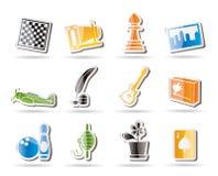 Icone semplici di hobby, di svago e di festa Fotografie Stock Libere da Diritti