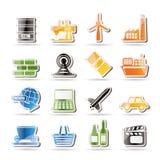 Icone semplici di industria e di affari Fotografie Stock