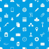 Icone semplici di tema del lavoro d'ufficio blu e modello senza cuciture bianco eps10 Immagine Stock