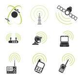 Icone semplici di vettore del segnale radio Fotografie Stock