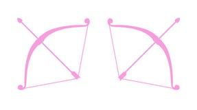 Icone semplici di vettore dell'arco e della freccia Fotografia Stock Libera da Diritti