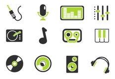 Icone semplici di vettore di musica e dell'audio Immagini Stock