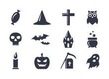 Icone semplici di vettore messe per Halloween Immagine Stock Libera da Diritti