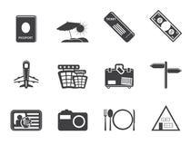 Icone semplici di viaggio e di viaggio della siluetta Immagini Stock