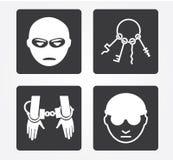 Icone semplici di web: Crimine Fotografie Stock