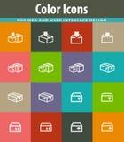 Icone semplici messe della scatola Fotografia Stock Libera da Diritti