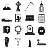 Icone semplici nere di sepoltura e di funerale illustrazione vettoriale