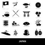 Icone semplici nere di tema del Giappone messe Fotografia Stock Libera da Diritti