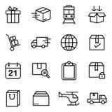 Icone semplici relative alla spedizione ed alla logistica Immagini Stock Libere da Diritti