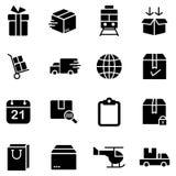 Icone semplici relative alla spedizione ed alla logistica Immagine Stock