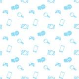 Icone senza cuciture del blu di media del modello Immagine Stock