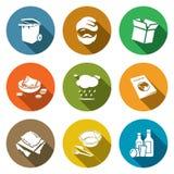 Icone senza tetto di fenomeno sociale messe Illustrazione di vettore Fotografie Stock