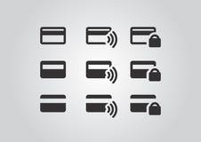 Icone sicure e senza fili di pagamenti Immagini Stock