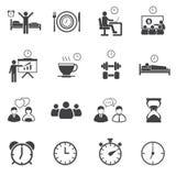 Icone sistematiche quotidiane di attività messe Fotografia Stock Libera da Diritti