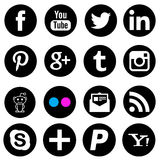 Icone sociali del nero della rete di media fotografia stock