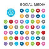 50 icone sociali della bolla di media Fotografia Stock
