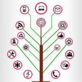 Icone sociali di legno di media Fotografie Stock Libere da Diritti