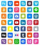 Icone sociali di media illustrazione di stock