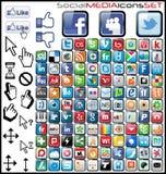 Icone sociali di media Fotografie Stock Libere da Diritti