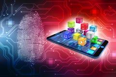 Icone sociali di media con lo smartphone nel fondo digitale 3d rendono Fotografie Stock