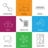 Icone sociali di media degli amici, della comunità, dei video & delle foto - concentrati Fotografie Stock