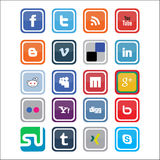 Icone sociali di media di vettore Fotografia Stock