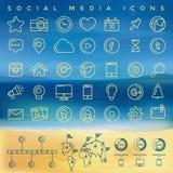 Icone sociali di media impostate Fotografie Stock Libere da Diritti