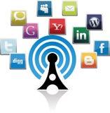 Icone sociali di media per scopo di affari Fotografie Stock