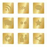 Icone sociali di media | Quadrato Bronze 05 Immagine Stock Libera da Diritti