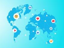 Icone sociali di media sopra il collegamento di comunicazione della rete del fondo della mappa di mondo Fotografia Stock