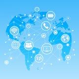 Icone sociali di media sopra il concetto del collegamento di comunicazione della rete del fondo della mappa di mondo Fotografia Stock Libera da Diritti