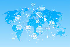 Icone sociali di media sopra il concetto del collegamento di comunicazione della rete del fondo della mappa di mondo Immagine Stock Libera da Diritti
