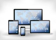 Icone sociali di media sulla mappa di mondo - technolog moderno di comunicazione Fotografia Stock Libera da Diritti