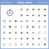 50 icone sociali di media sulla presentazione semplice Immagine Stock Libera da Diritti