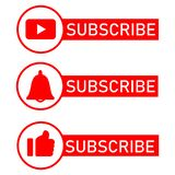 Icone sociali di notifica di media Progettazione piana Sottoscriva il bottone, icona della campana del messaggio, come il bottone royalty illustrazione gratis